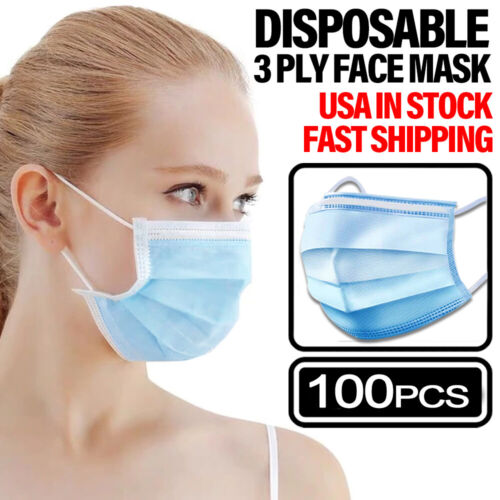 100PCS Face Mask Non Medical Surgical Disposable 3-PLY Earloop Mouth Cover Business & Industrial