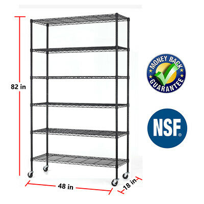 6 Tier Commercial Wire Shelving Rack 48x18x82 Adjustable Metal Rack Wcasters
