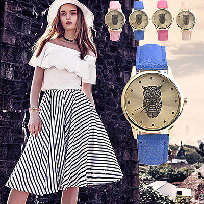 Fashion Women's Leather Band Retro Owl Design Analog Alloy Quartz Wrist Watches