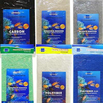 4 Pack Filter Pad Cut to Fit Aquarium Media Carbon Nitrate Ammonia -