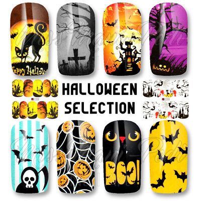 Halloween Nails Water Decals Nail Wraps Full Nail Cats Bats Pumpkins (Halloween Nails Bats)
