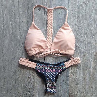 Women Weave Push-up Padded Bra Thong Pants Bathing Floral Bikini Set Swimwear