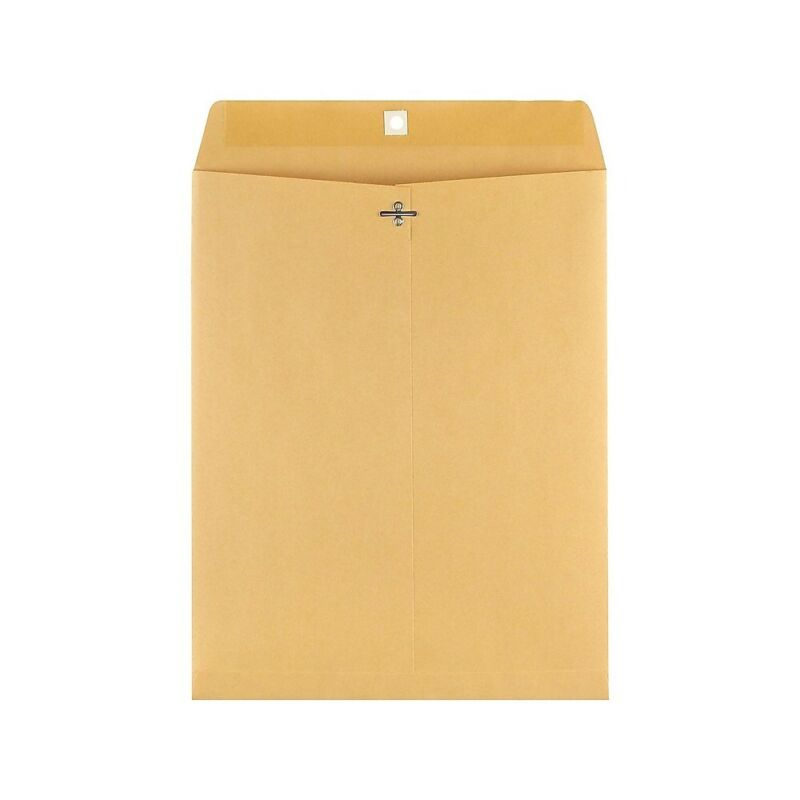 "Staples Clasp Kraft Envelopes 11-1/2"" x 14-1/2"" Brown 100/BX (535039/17082)"