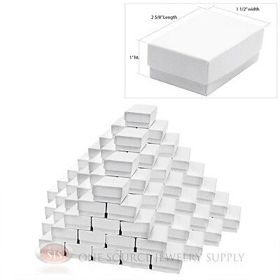100 Gloss White Cotton Filled Jewelry Gift Boxes 2 58 X 1 12 Charm Pendant