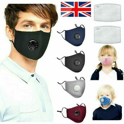 Washable Valved Anti-Droplet Face Mask & Activated Carbon Filters Adult & Kids