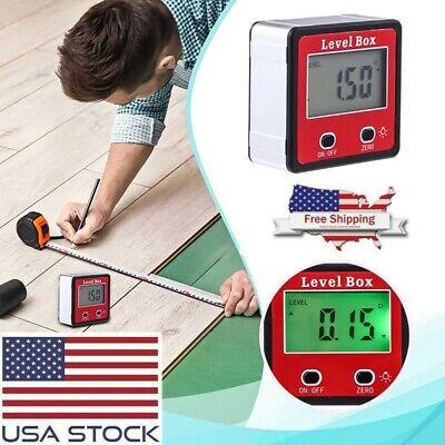 Digital 4*90°Inclinometer Level Box Protractor Angle Finder Bevel Gauge Magnet