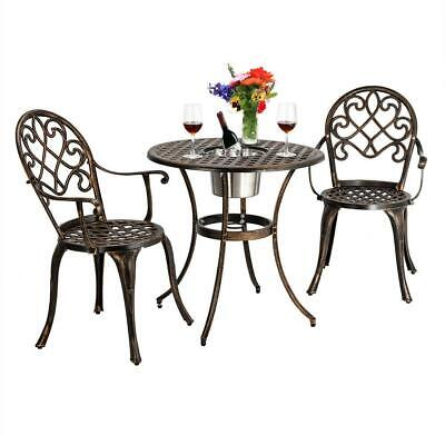3PC Outdoor Patio Dining Set Ice Bucket Dining Table Chair Cast Aluminum Bistro Aluminum Bistro Chairs