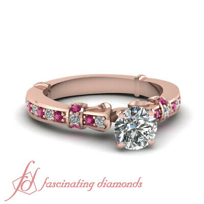 14K Rose Gold Diamond Rings Round Cut Tilted Band Pave Set GIA Certified 0.90 Ct