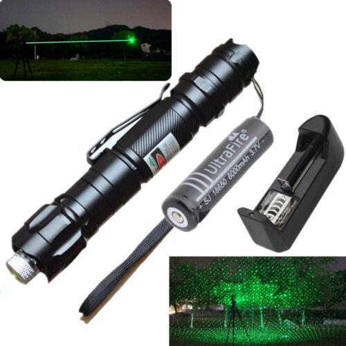 009 Green Laser Pointer Lazer Light Pen Visible High Beam 18650 Battery Charger