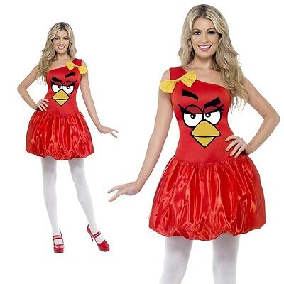 Damen Angry Bird Rot Tier Vogel Kostüm Verkleidung Erwachsene Spiel Sexy (Sexy Angry Bird Kostüm)