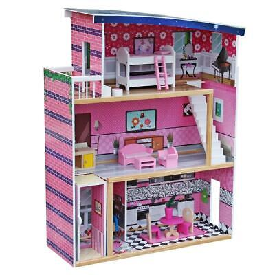 Large Size Doll House Girls Dream Play Playhouse Dollhouse Wooden Game Toy New Large Play Doll