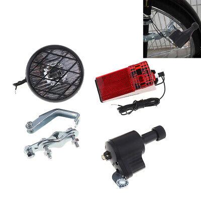 3W 6V Bike Bicycle Cycling Dynamo Rear Lights Set Headlight Rearlight LED Lamp