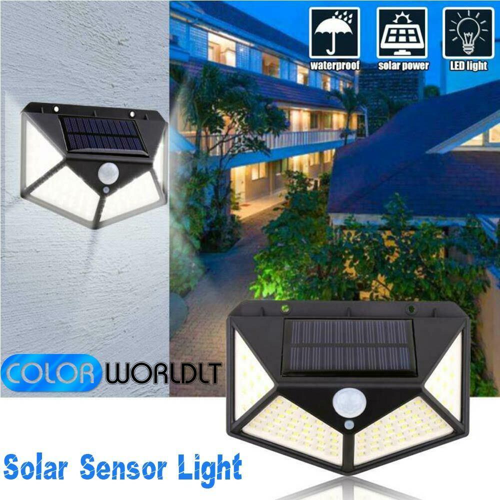 100 LED Solar Powered PIR Motion Sensor Light Outdoor Garden