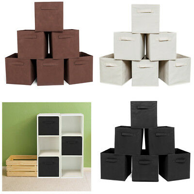6 Pack Storage Cube Basket Fabric Drawers Best Cubby Organizer Box Bin 3 Colors