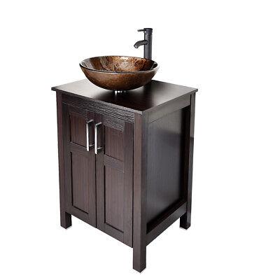 Bathroom Vanity Cabinet 24'' Single Glass Vessel Sink Faucet Drain Combo Set