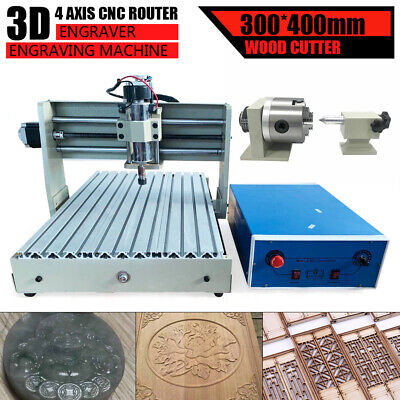 4axis 3040 Cnc Router Engraver Engraving Milling Cutting Machine 400wcontroller