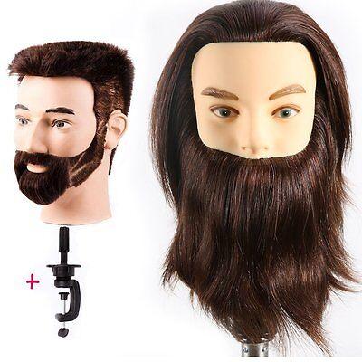 Male Mannequin Head 100% Human Hair Hairdresser Training ...