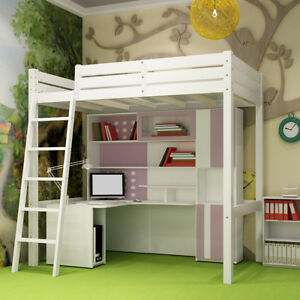 White Modern Bunk High Sleeper Single Kids Cabin Bed Solid Wood Pine With Ladder
