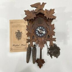 VTG Working Hubert Herr Black Forest Cuckoo Clock Germany Wood Bird Leaves