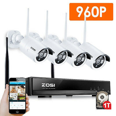 ZOSI 960P HD 4CH Wireless NVR Outdoor Network Security IP Camera System WiFi 1TB