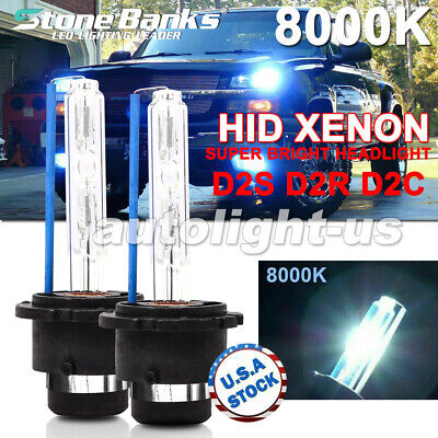 2x 8000K Ice Blue D2S D2R D2C HID Xenon Bulbs Factory Replacement Headlight Kit Blue Xenon Hid Headlights Lights