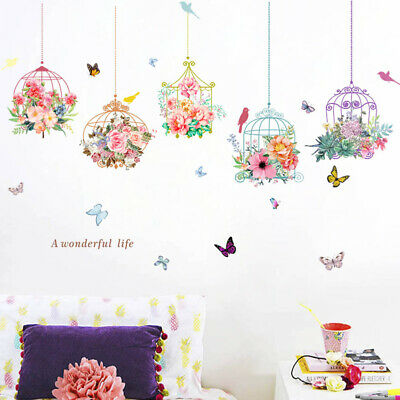 Home Decoration - Large Flower Bird Cages Butterfly Wall Sticker Decal Removable Decor Home Art