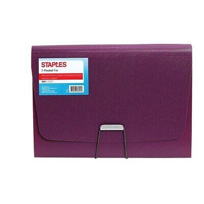 Staples Plastic 7 Pocket Reinforced Expanding Folder Letter Size Purple 2806367