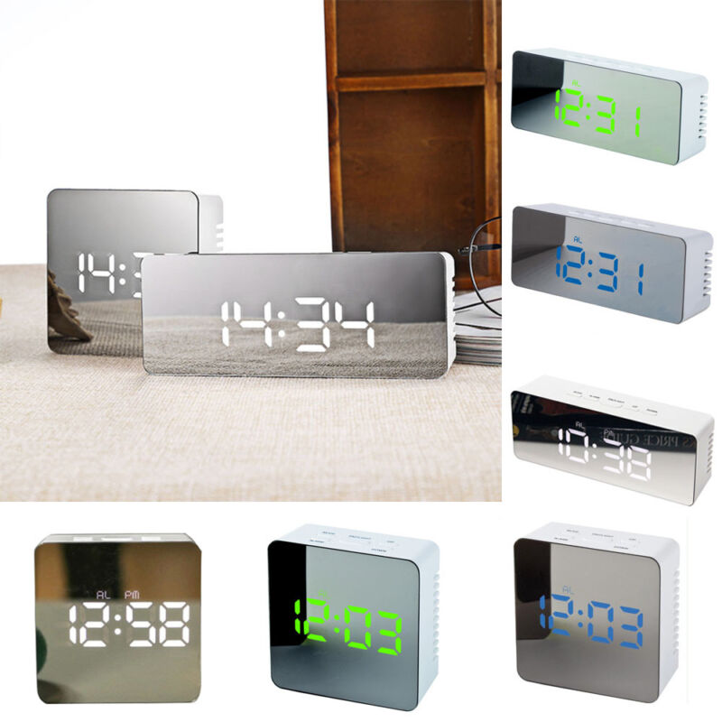 2018 Creative Digital Mirror Alarm Clock Snooze USB LED Night Light Thermometer