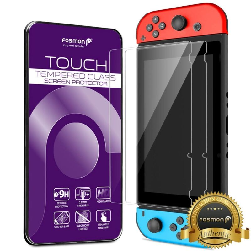 2x HD Ultra Clear Premium Tempered Glass Screen Protector for Nintendo Switch