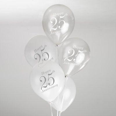 8 Vintage Romance 25th Wedding Anniversary Balloons White/Silver Air or Helium (25th Wedding Anniversary Balloons)