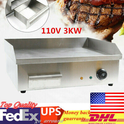 110v 3kw Commercial Restaurant Grill Bbq Flat Top Electric Countertop Griddle