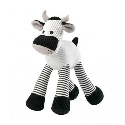 House of Paws Cord Cow Squeaky Dog Toy | Large Medium Plush Black White Cuddly