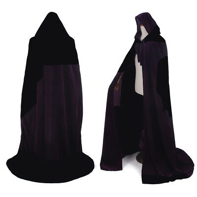 Medieval Black Velvet Hooded Cloak Gothic Vampire Wicca Robe Cosplay Cape - Black Velvet Hooded Cape