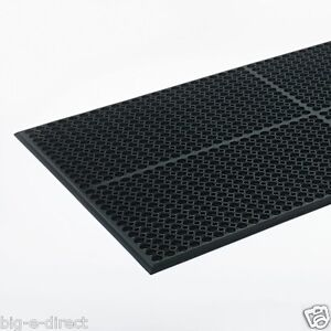 BLACK INDOOR COMMERCIAL INDUSTRIAL HEAVY-DUTY ANTI-FATIGUE FLOOR MAT - 36