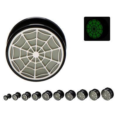 PAIR-Spider Web Glow in the Dark Acrylic Screw On Ear Plugs 14mm/9/16