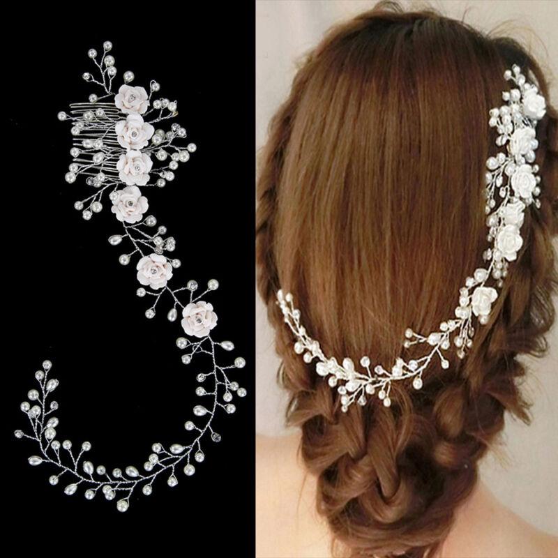 Braut Haarreif Tiara Perlen Perle Blüten Haarschmuck Hochzeit Haarband
