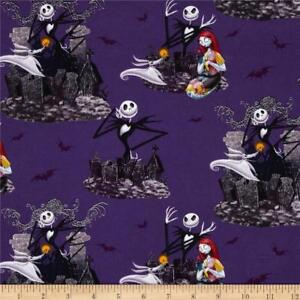 NIGHTMARE BEFORE CHRISTMAS SCENIC PRINT 100% COTTON FABRIC BY THE  1/2 YARD