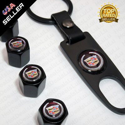 Black CAR Wheel Tyre Tire Valves Dust Stems Air Caps + Keychain Cadillac Emblem