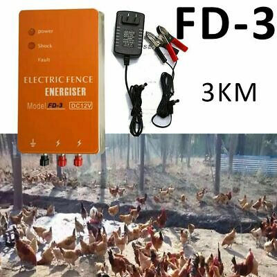 3km Electric Fence Energizer Charger For Ranch Animals Raccoon Dog Horse Cattle