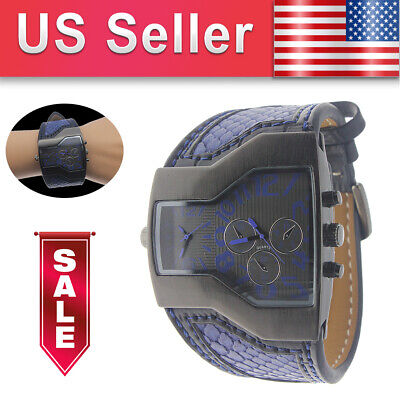 Fashion Sports Army Dual Time Zones Leather Strap Date Quartz Wrist Watch (Best Dual Time Watches)