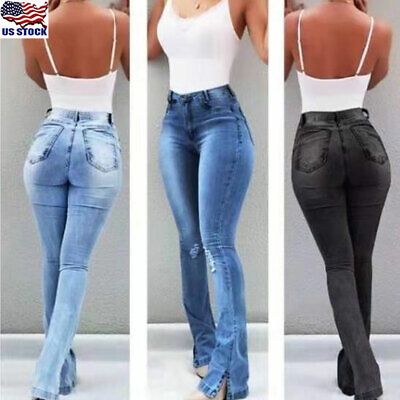 Flared Leg Jeans Pants - Womens Denim Jeans Bell Bottom Flare Pants Casual High Waist Wide Leg Trousers