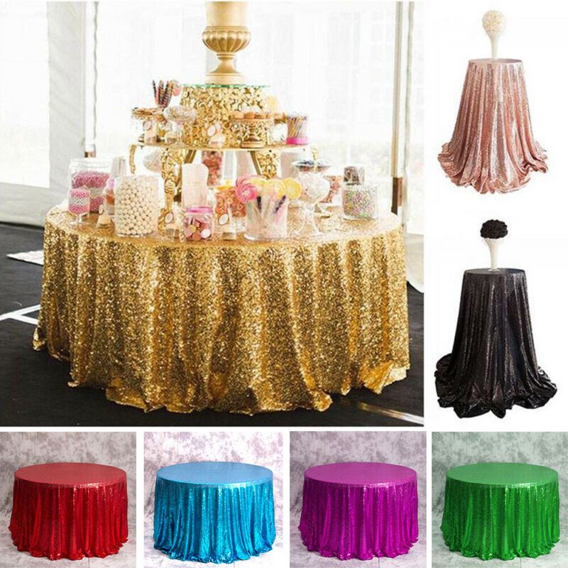Round Sequin Tablecloths Rose Gold Silver Table Cloth Cover