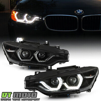 2012-2015 BMW F30 320i 328i 335i HID w/AFS Black LED 3D DRL Projector Headlights