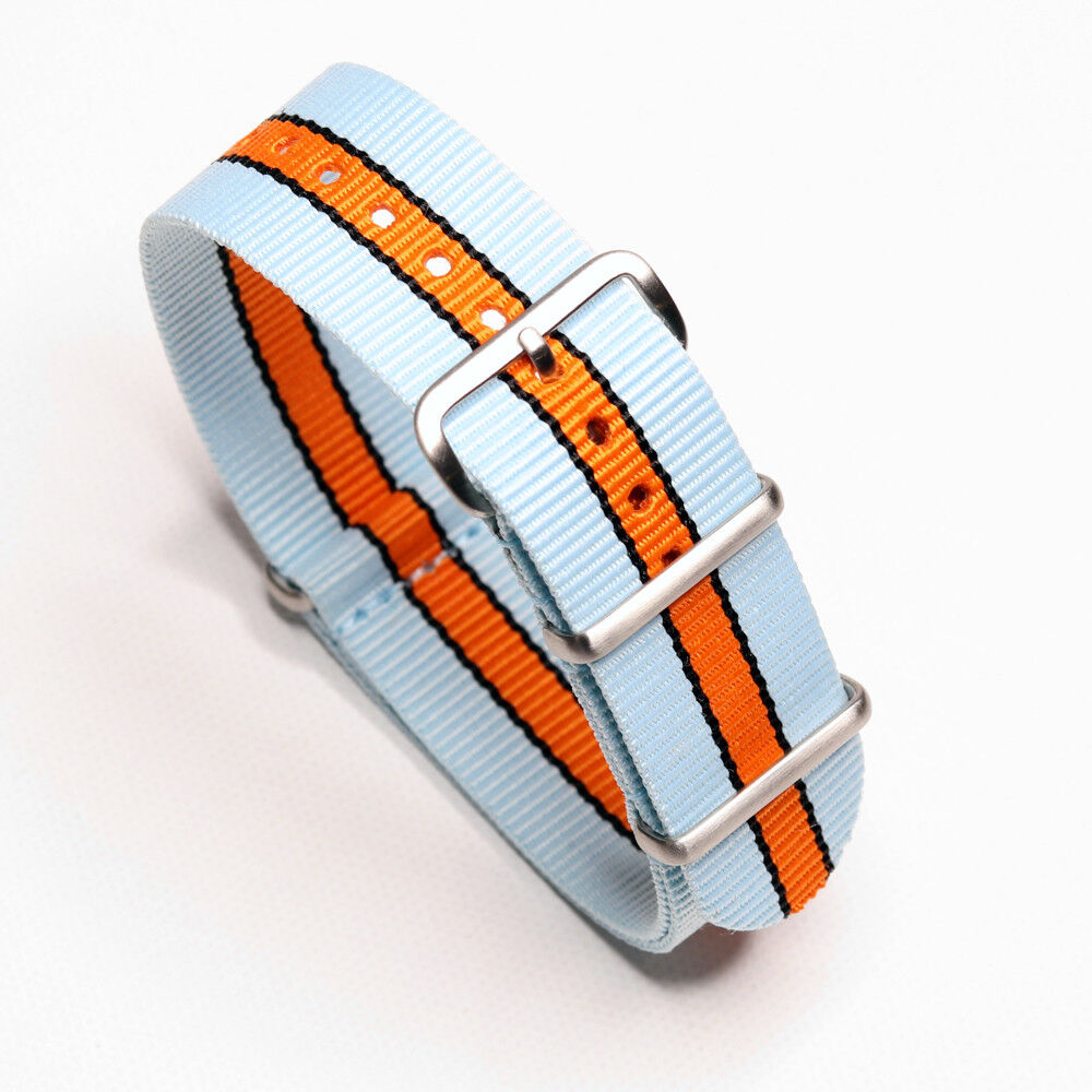 Durable 20mm / 22mm One-Piece Gulf Racing Inspired Colors St