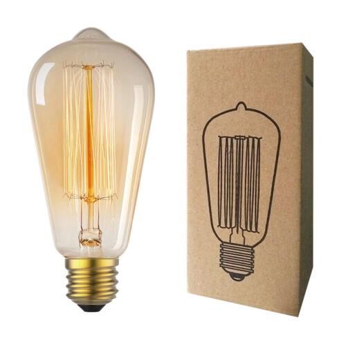 Edison Bulb E26 Retro Lamp ST64 Vintage 40W 60W Filament Inc