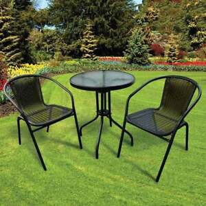 3 Piece Black Rattan Bistro Set Table & Chairs Patio Outdoor Garden Furniture
