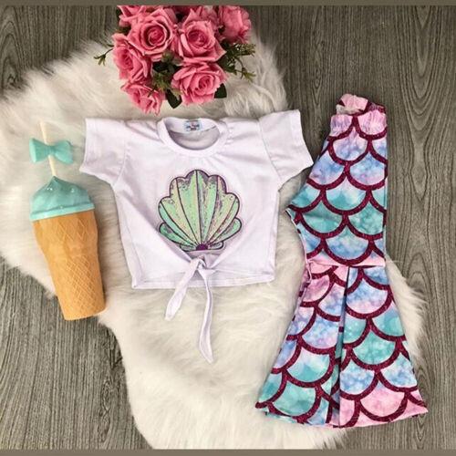 US Toddler Kid Baby Girl Mermaid Tops Bell-Bottom Pants 2pcs