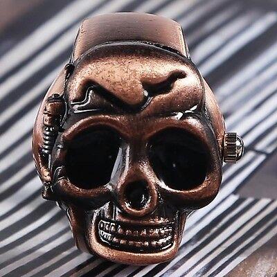 Gothic Punk Elastic Gift Men Skull Party Quartz Ring Design Finger Watch