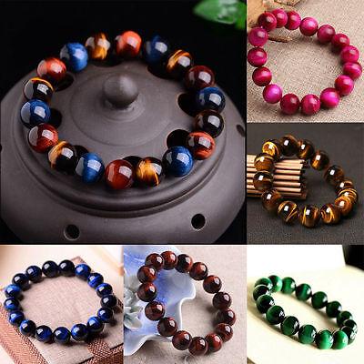 Natural Gemstone Tigers Eye Stone Beads Women Men jewelry Bracelet -