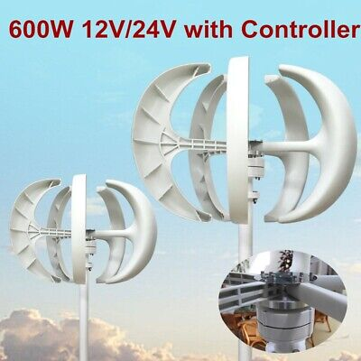 600w 1224v 5 Blades Lanterns Wind Turbine Generator Vertical Axis Windmill New